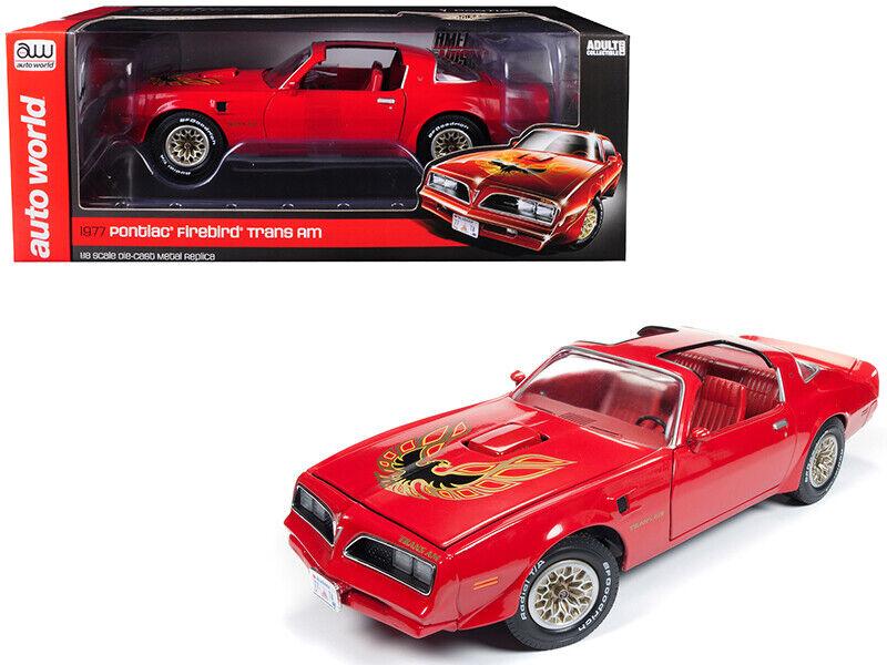 Autoworld 1 18 1977 Pontiac Firebird Trans Am modellolo Diecast rosso AMM1160