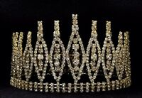 Gold Rhinestone Crown Wedding Pageant Prom Queen King Cake Topper Decoration C19