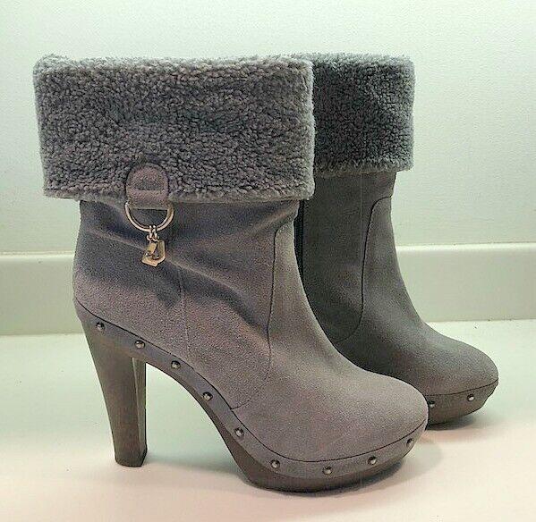 Liu Jo Womens Boots Booties Heel Grey Suede Leather Cuff  Sz 40 (US 10)
