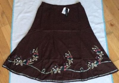 Adroit Bnwt 'wardrobe' Chocolate Floral Embroidered Midi Skirt Size 16 Women's Clothing