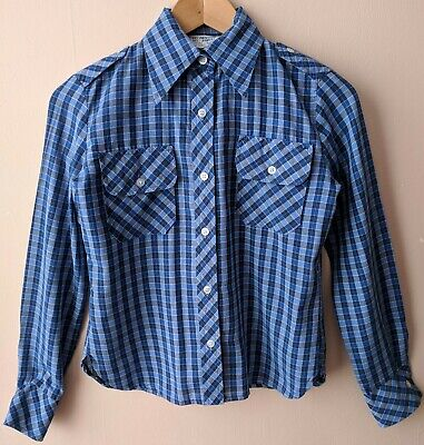 70s Controllare Blu Vintage Donna Camicia Pugnale Collar 10 8-10 Western Casual-mostra Il Titolo Originale