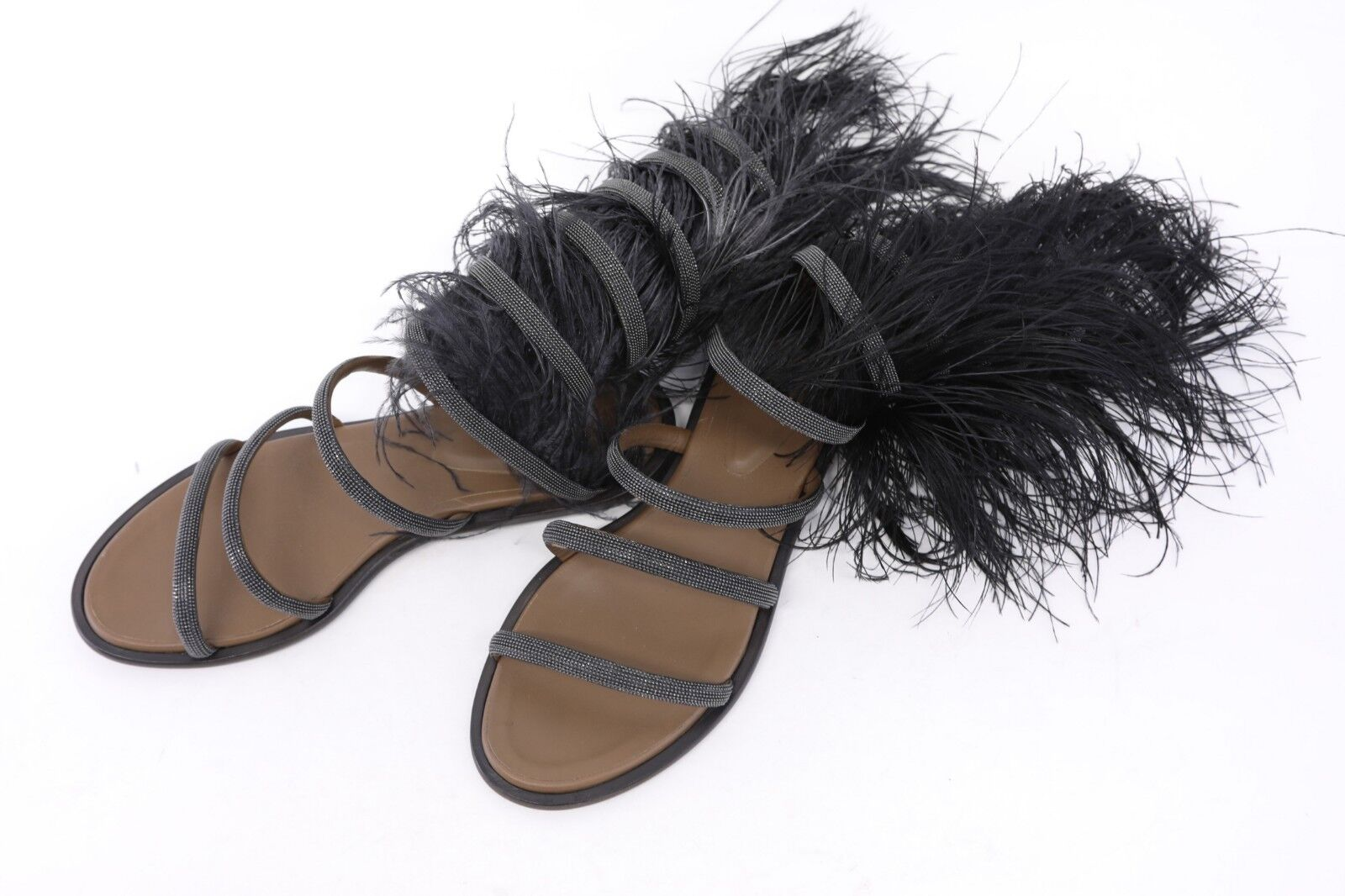 NWOB 3495 Brunello Cucinelli Leather Leather Leather Beaded+Ostrich Feather Gladiators40 10 A186 818a1b