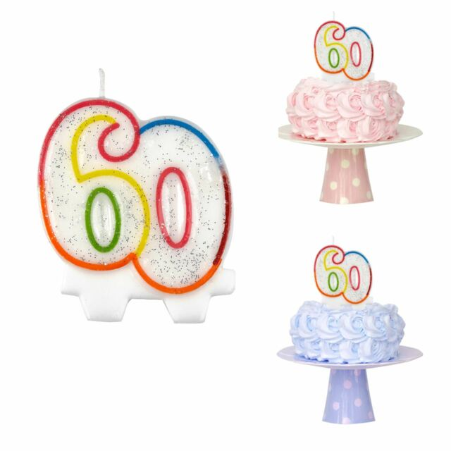 Happy 60th Birthday Age Number Candle Cake Topper Rainbow Party Table Decoration