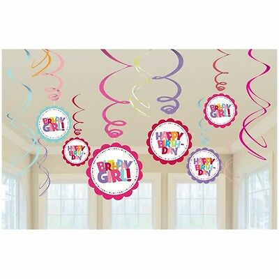 HOT SPOT HAPPY BIRTHDAY GIRL PARTY SWIRLS HANGING DECORATION PACK OF 12