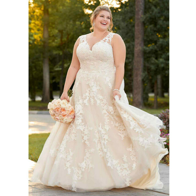 Plus Size White/Ivory Lace Organza Wedding Dress Bridal Gown 18 20 22 24 26  28 +