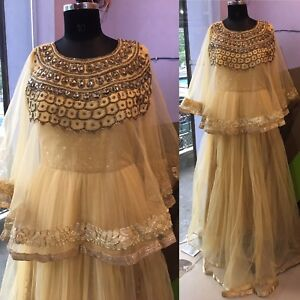 Stone Work Poncho Cape Gown Long Dress Bollywood Designer Indian
