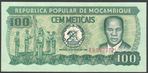 P 126 1 UNC 100 METICAIS 1980 Banknote Note 1 P126 MOZAMBIQUE