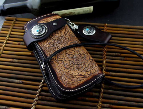 handmade Jepanese Biker Leather Chain Wallet with Dragon and Skull