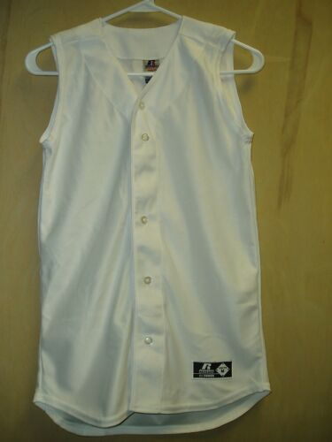 Youth White Grey Gray 100 /% Polyester Jersey Buttons Sleeveless No Sleeves New