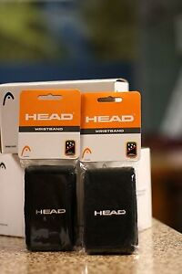 """Head RACQUETBALL WRISTBAND SWEATBAND BLACK COLOR, LONG 5"""". TWO PAIRS"""