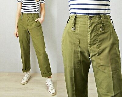 Authentic US Army Pants Vintage United States Military Utility Cargo Trousers Distressed Green Fatigues Urban Grunge Punk Size 28 x 28