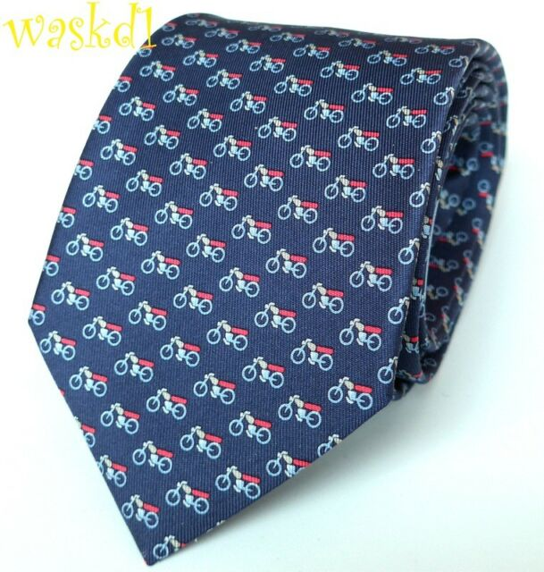 SALVATORE FERRAGAMO Navy with red   aqua MOTORCYCLE print silk MENS tie NWT  Auth 682a75c18b