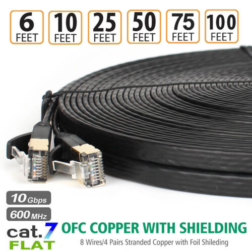 Long Cat 7 Ethernet Shielded STP 10GB Fastest Lan Network Cable–50FT 75FT 100FT