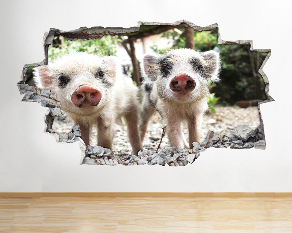 Cerdos Lechones Animales Zoo Guardería pegatina pared vinilo 3d habitación niños