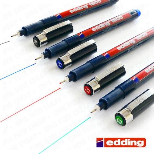 4 x Edding 1800 Drawing Pen Pigment Liner Fineliner 0.3mm Black,Blue,Red,Green