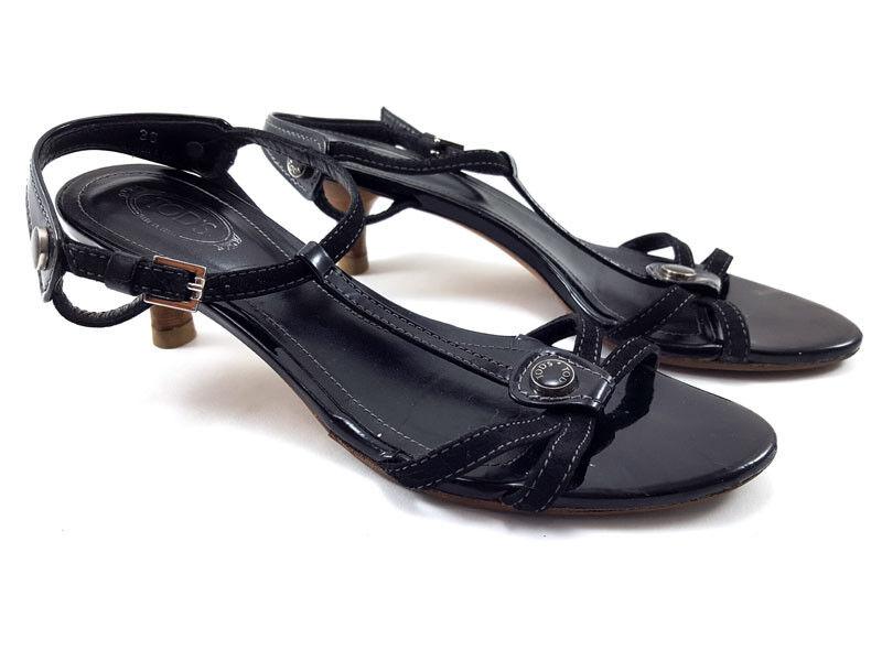 Tod'S Tod'S Tod'S Sandalias De Cuero Negro Tacón Bajo, Zapatos para mujer Talla 36 EE. UU. 6 EU  servicio de primera clase