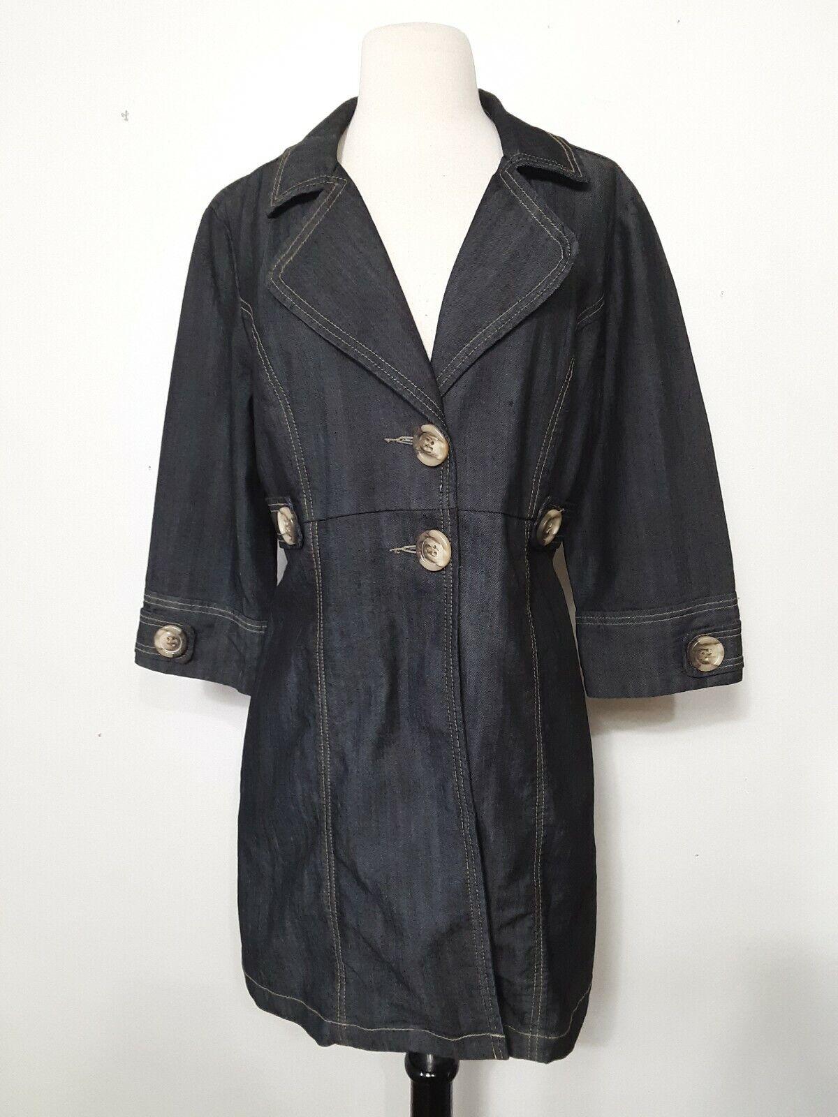 Baccini Blue Jean Jacket Two Button Down 3/4 Sleeve Pockets Women Size L