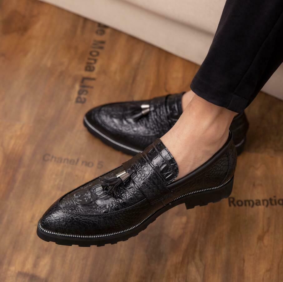 Oxford Mens Tassel casual Brogue leather Pointed toe alligator Loafers shoes New