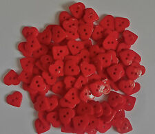 100 x Acrylic Red Love Heart Shaped Beads 2 Hole Buttons 16x16mm