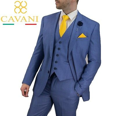GroßZüGig Mens Designer Cavani Stylish Light Blue Wedding Formal 3 Piece Suit New