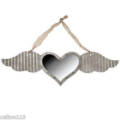 Galvanized Metal Silver Winged Heart Mirror Wall Decor Rustic  Home Decor NEW