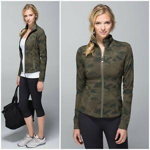 rare lululemon savasana camo forme jacket size 10  ebay