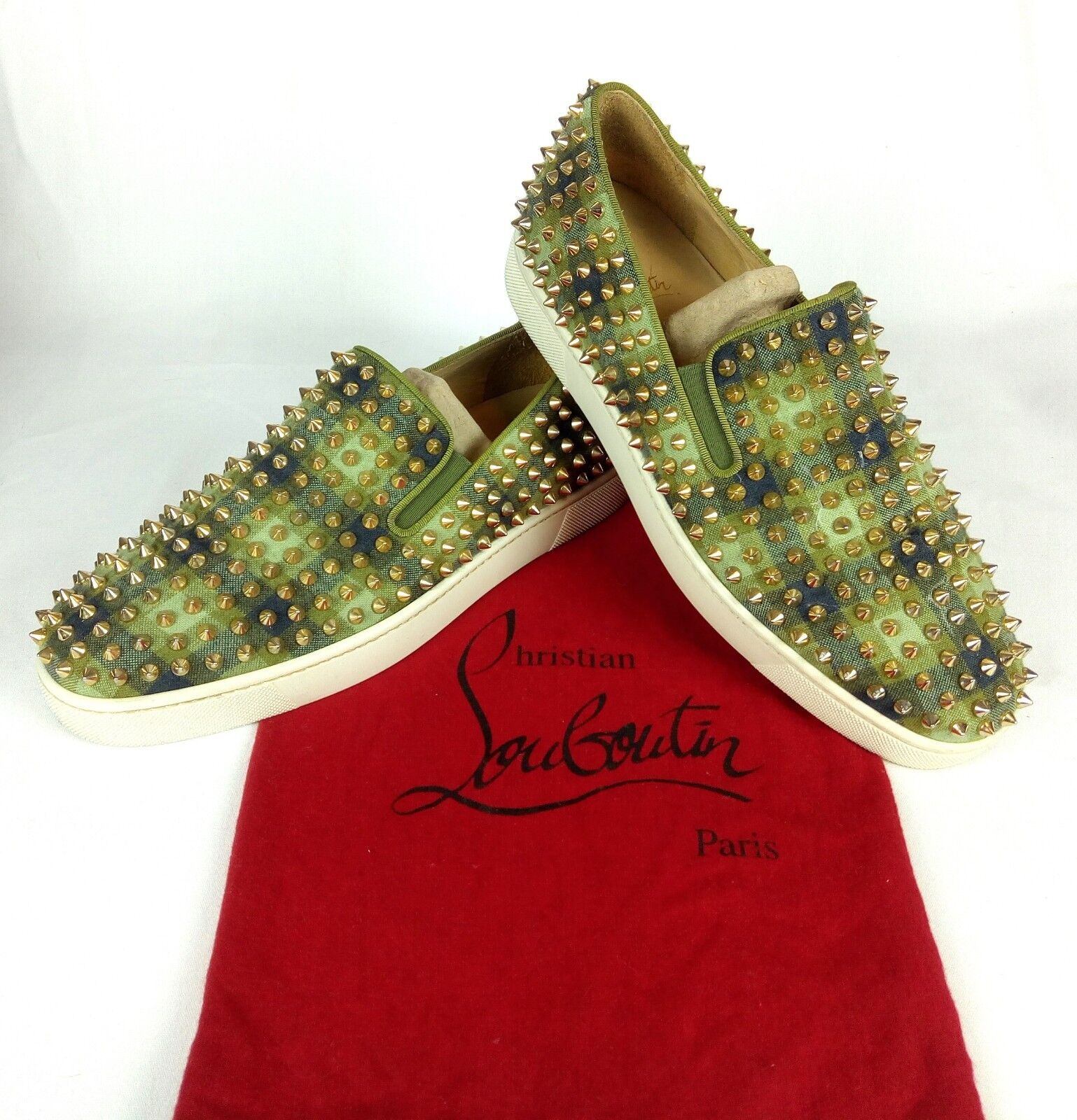 100% Authentic CHRISTIAN LOUBOUTIN Studded Spiked Roller Boat Flat Sneakers 42 9