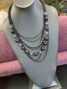 Vintage-Gorgeous-8-Grey-Multi-Strand-Chain-Waterfall-Long-Bib-Statement-Necklace