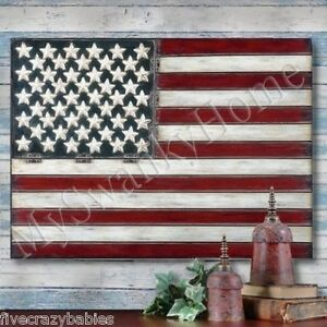 Extra Large AMERICAN FLAG Metal Wall Art Folk Patriotic Country