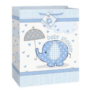 Blue-Baby-Boy-Shower-Party-SWEET-UMBRELLA-ELEPHANT-LARGE-GIFT-BAG