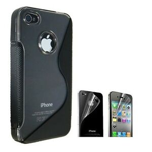 NEW-BLACK-IPHONE-4S-4G-4-CASE-amp-SCREEN-PROTECTOR-KIT-TPU-FOR-AT-amp-T-VERIZON