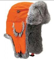 Mad Bomber Mens Supplex Bomber Trapper Hat Blaze Orange Rabbit Fur L Or Xl