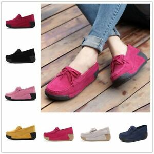 Women-039-s-Slip-On-Loafers-Casual-Boat-Round-Toe-Moccasins-Office-Flat-Heel-Shoes