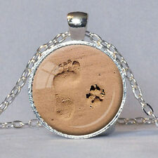 Silver Dog Paw Print Footprint Pendant Necklace for Lover Jewelry Fashion Gift