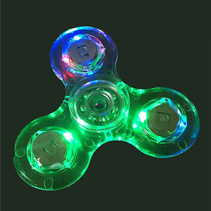 LED Flash Light Tri Fidget Hand Spinner EDC Anti-Stress Toy For Kid Lot Steady