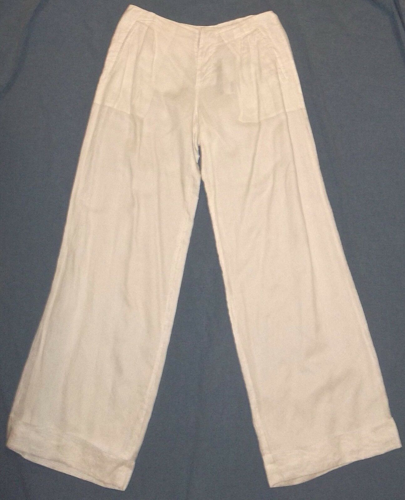 Jean Paul Gaultier Haute tailored wide cuffed legs White linen pants women's US6