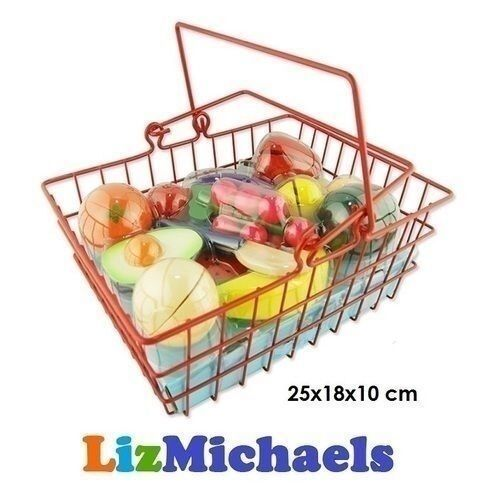 WOODEN FRUIT FOOD SLICES KITCHEN GROCERY PRETEND PLAY TOY SHOPPING BASKET