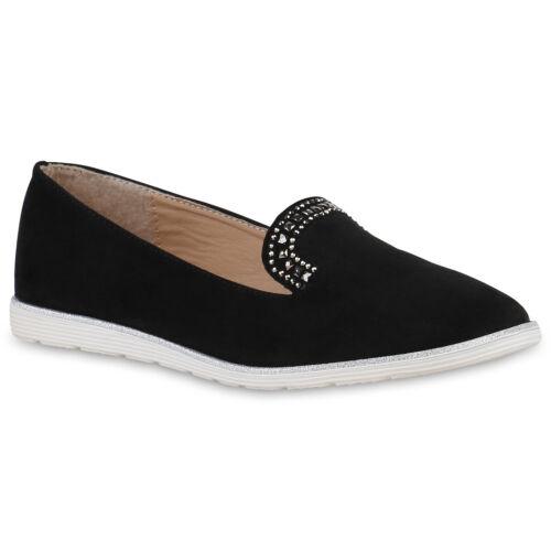 Damen Loafers Glitzer Slippers Leder-Optik Schuhe Strass Flats 820596 Top