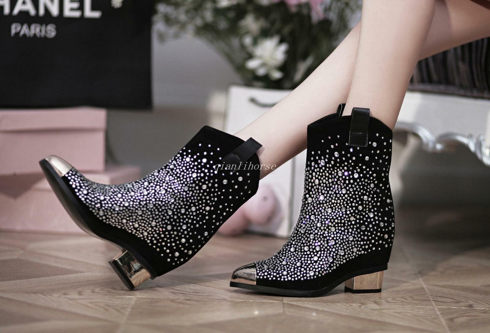 Sexy mujer Mid Bling Bling Rhinestones Pointy Toe Mid mujer Heel Ankle botas Roman zapatos f443e9