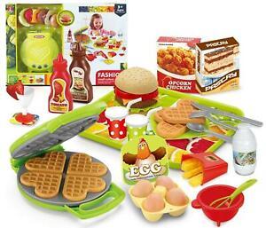 Burger Waffle Maker Toy Play Food Cutlery Pretend Set Kitchen Mixer Ebay