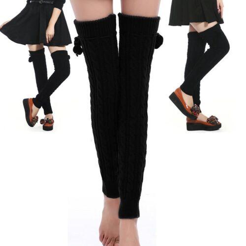 Pretty Black Long Wool Thigh High Leg Warmers Stockings Tights Cheap