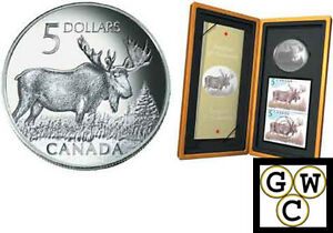 2004-Moose-Proof-5-Pure-Silver-Coin-amp-Stamp-Set-10815