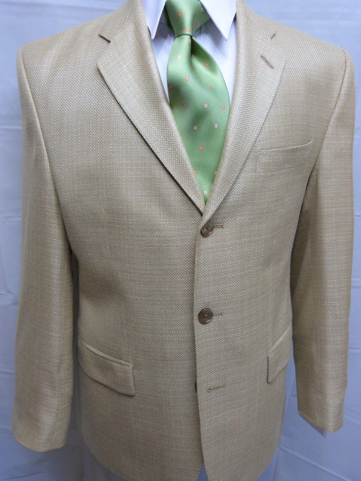 Men's Three Button Sport Coat, Peerless, 40R, 100% Silk, Beige NWT