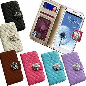 LEATHER-QUILTED-FLIP-PURSE-CRYSTAL-ROSE-FLOWER-WALLET-CREDIT-CARD-CASE-COVER