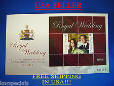 Prince William and Kate Royal Wedding FDC w/split error Stamp NIUE RARE, 2011