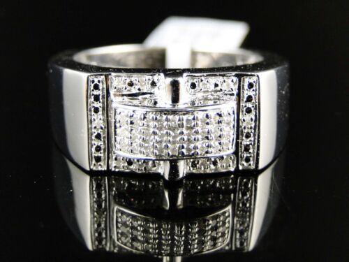 Mens White Gold Finish Genuine Wedding Diamond Pave Setting Pinky Ring 1//5 Ct