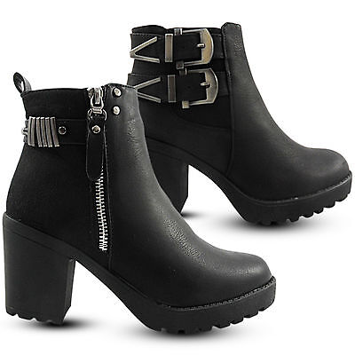 NEW WOMEN LADIES CHELSEA GUSSET CLEATED MID HIGH BLOCK HEEL ANKLE BOOT SHOE SIZE