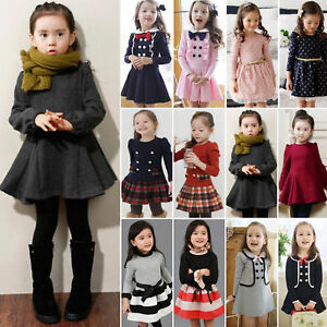 8dd85c38445f Toddler Kids Baby Girls Winter Skater Dress Long Sleeve Party Tutu ...