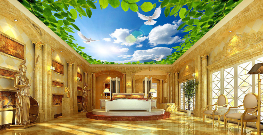 3D Leaves Clouds Sky 8 Wall Paper Wall Print Decal Wall Deco AJ WALLPAPER Summer