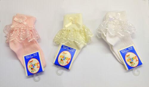 Confezione da 2 Girls Baby Nuovo Pizzo Volant Calzini Di Raso Fiocco /& Perle neonati ai 10 anni